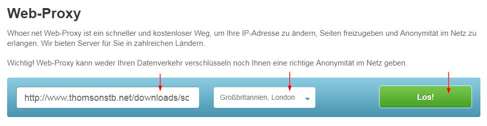 Screenshot der Web-Proxy-Seite Whoer.net